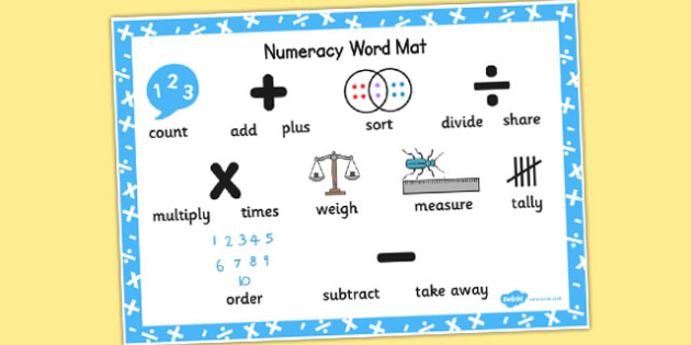 Numeracy Instructions Word Bank - numeracy, word mat, instructions