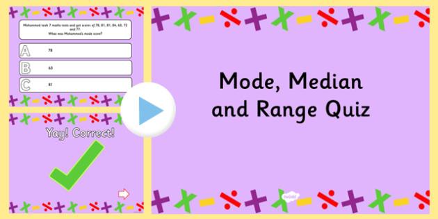 Mode Median and Range PowerPoint Quiz - mode, median, mean, quiz