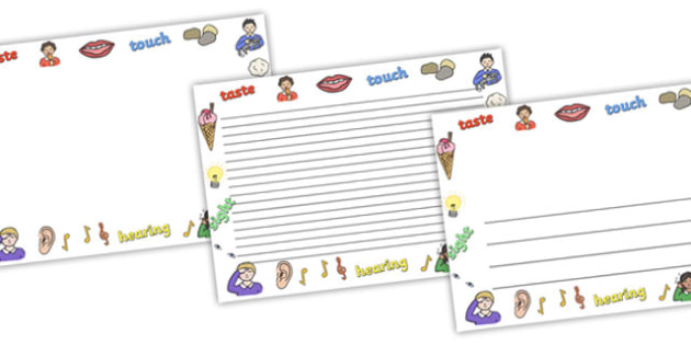 Senses Full Page Borders (Landscape) - page border, border, frame, writing frame, senses page borders, my sense page borders, senses, smell, sight, seeing, touch, senses writing frames, writing template, writing aid, writing, A4 page, page edge, writ