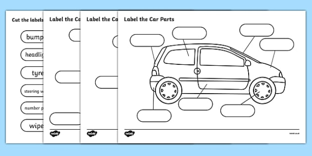 Label The Car Parts - car, cars, parts of the car, label