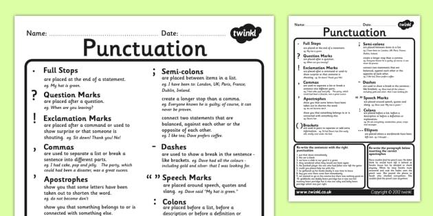 punctuation worksheet punctuation worksheet literacy english. Black Bedroom Furniture Sets. Home Design Ideas