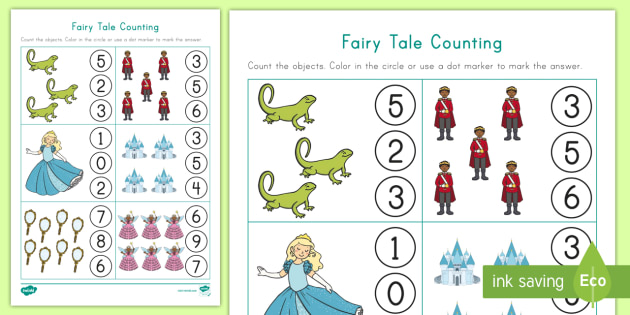 fairy tale counting worksheet worksheet counting skills number. Black Bedroom Furniture Sets. Home Design Ideas