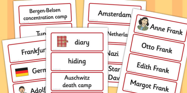 Anne Frank Word Cards - anne, frank, word, cards, word cards