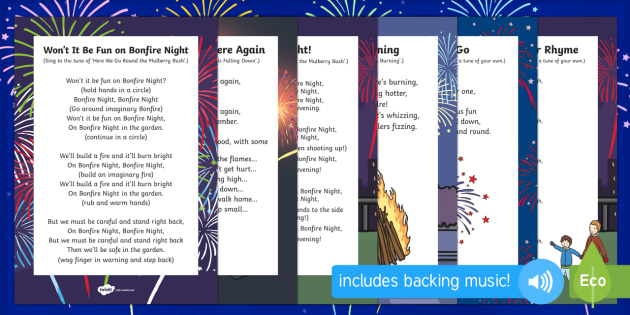 Bonfire Night Themed Songs and Rhymes Resource Pack - bonfire night, rhymes, resource, pack