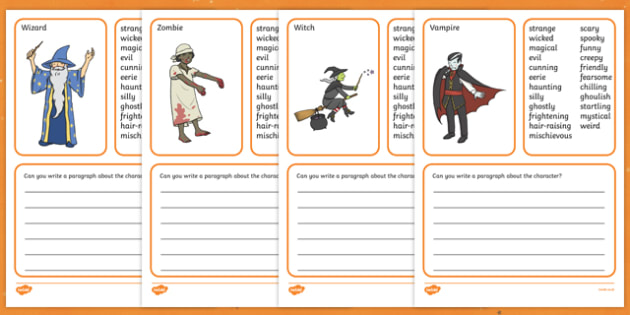 Halloween Character Profile Worksheet / Activity Sheet