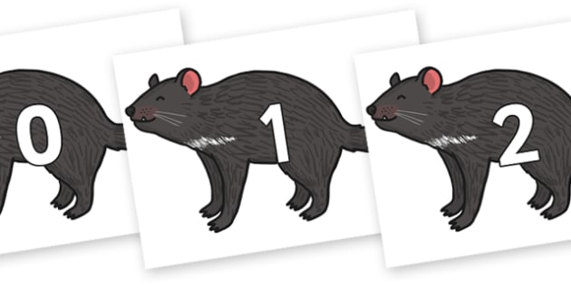 Numbers 0-50 on Tasmanian Devil - 0-50, foundation stage numeracy, Number recognition, Number flashcards, counting, number frieze, Display numbers, number posters