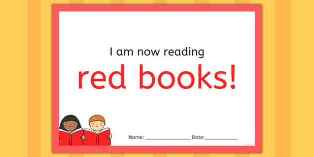 I'm Now Reading Red Books Certificate - certificate, coloured, reading, book
