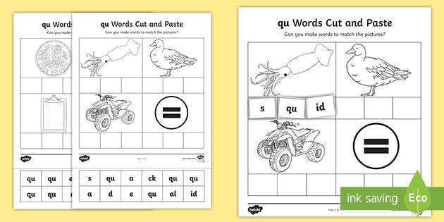 'qu' Cut and Stick Worksheet