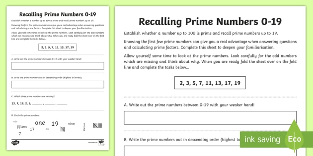 Recalling Prime Numbers 0 19 Worksheet Activity Sheet
