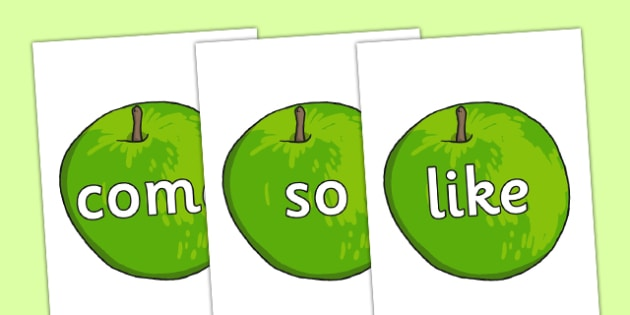 Phase 4 High Frequency Words on Apples - phase 4, high frequency words, apples, high frequency