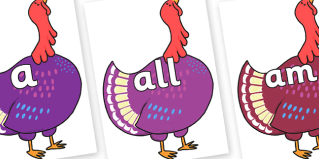 Foundation Stage 2 Keywords on Hullabaloo Turkey to Support Teaching on Farmyard Hullabaloo - FS2, CLL, keywords, Communication language and literacy,  Display, Key words, high frequency words, foundation stage literacy, DfES Letters and Sounds, Lett