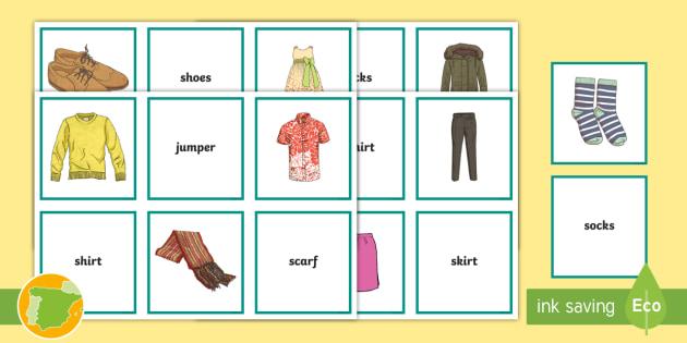 A2 Tarjetas De Emparejar Y Tablero Ropa En Inglés Clothes