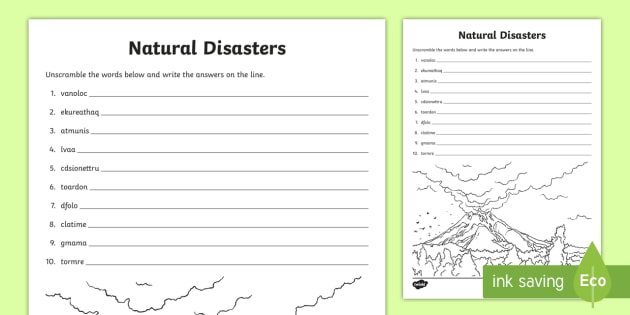 Natural Disasters Word Unscramble Vocabulary Development Anagrams