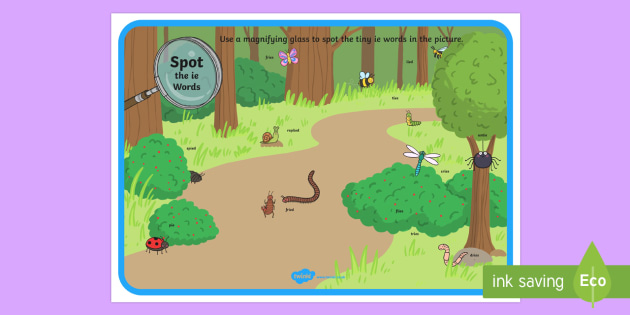 Phase 5 ie Words Minibeasts Scene Magnifying Glass Activity Sheet - phonics, letters and sounds, phase 5, ie sound, magnifier, magnifying glass, find, activity, group,