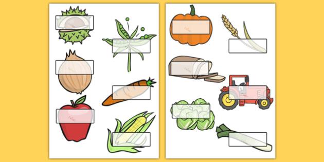 Editable Self-Registration Labels (Harvest) - Self registration, register, harvest festival, autumn, editable, labels, registration, child name label, printable labels