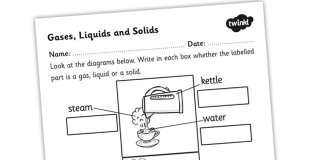 Gases Liquids and Solids Worksheet - gases liquids and solids, states, changing state, changing state worksheet, different states labelling worksheet, ks2