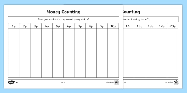 british money counting and sorting worksheet activity sheet. Black Bedroom Furniture Sets. Home Design Ideas