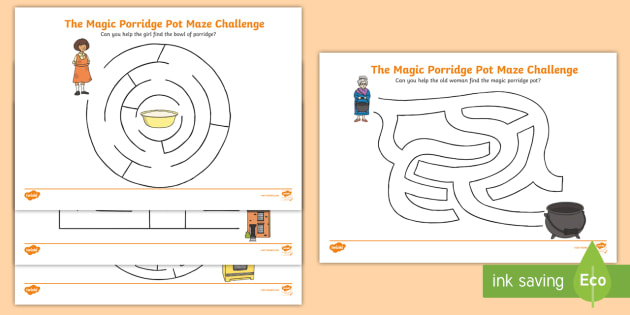 The Magic Porridge Pot Differentiated Maze Activity Sheet Pack, worksheet