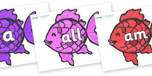 Foundation Stage 2 Keywords on Fish to Support Teaching on The Rainbow Fish - FS2, CLL, keywords, Communication language and literacy,  Display, Key words, high frequency words, foundation stage literacy, DfES Letters and Sounds, Letters and Sounds,