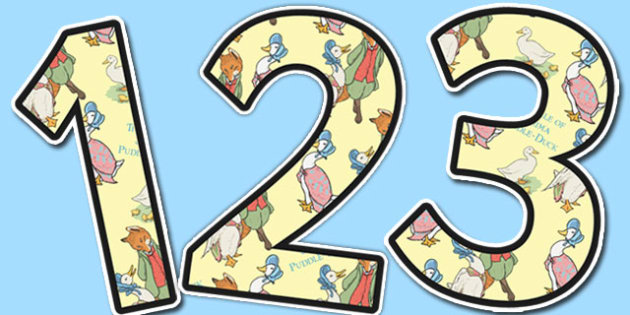 The Tale of Jemima Puddle Duck Themed A4 Display Numbers - jemima