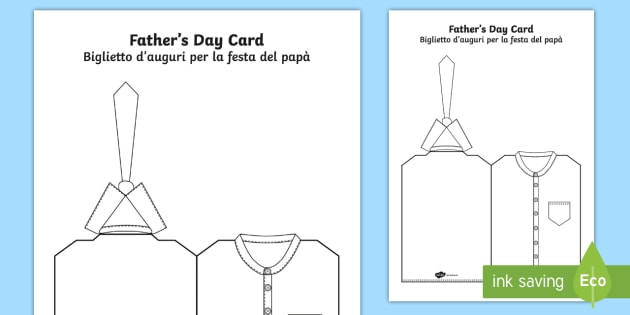 father s day shirt and tie cut and colour craft card