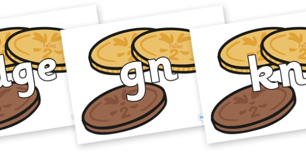 Silent Letters on Chocolate Coins - Silent Letters, silent letter, letter blend, consonant, consonants, digraph, trigraph, A-Z letters, literacy, alphabet, letters, alternative sounds