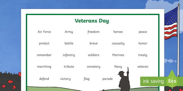 Veterans Day Word Mat