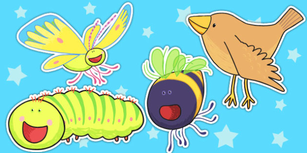 Stick Puppets to Support Teaching on The Crunching Munching Caterpillar - role play