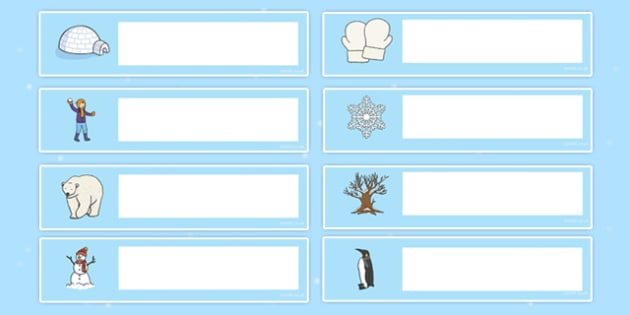 Winter Themed Editable Gratnells Tray Labels - winter, tray label