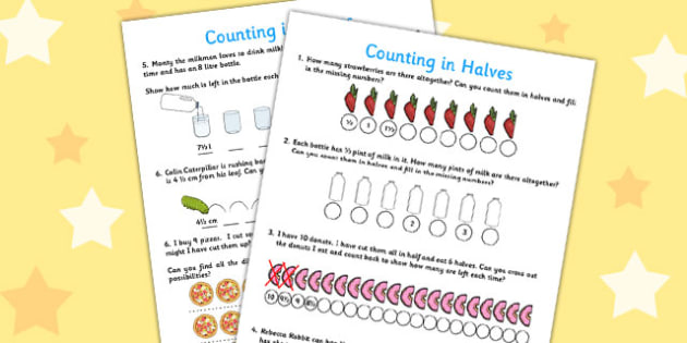 Counting in Halves Activity Sheet - counting, halves, activity, worksheet