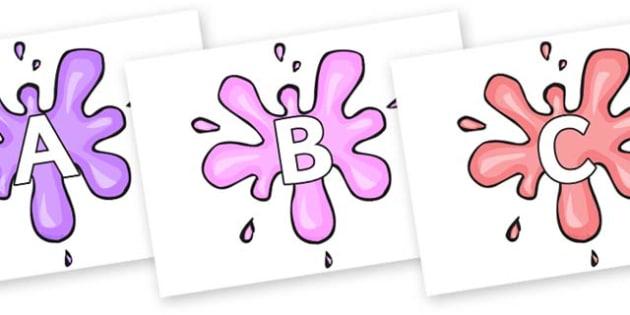 A-Z Alphabet on Splat - A-Z, A4, display, Alphabet frieze, Display letters, Letter posters, A-Z letters, Alphabet flashcards