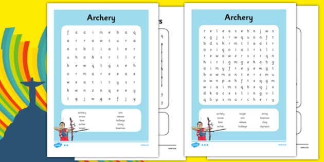 The Olympics Archery Word Search - the olympics, rio olympics, 2016 olympics, rio 2016, archery, word search