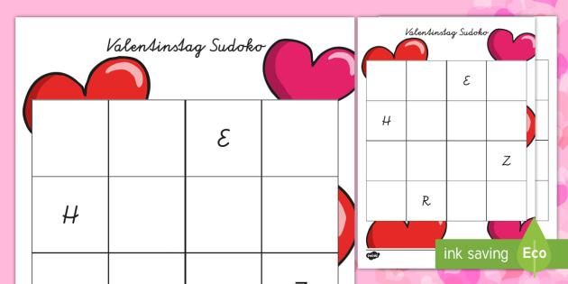 Valentinstag Sudoku Arbeitsblatt: Buchstaben einfügen