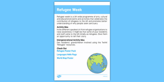 Elderly Care Calendar Planning June 2016 Refugee Week - Elderly Care, Calendar Planning, Care Homes, Activity Co-ordinators, Support, June 2016
