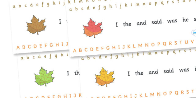 Alphabet Strips (Autumn) - Alphabet, Learning letters, Writing aid, Writing Area,  Autumn, seasons, autumn pictures, autumn display, leaves, acorn, conker