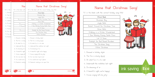 Name that Christmas Song Worksheet / Activity Sheet