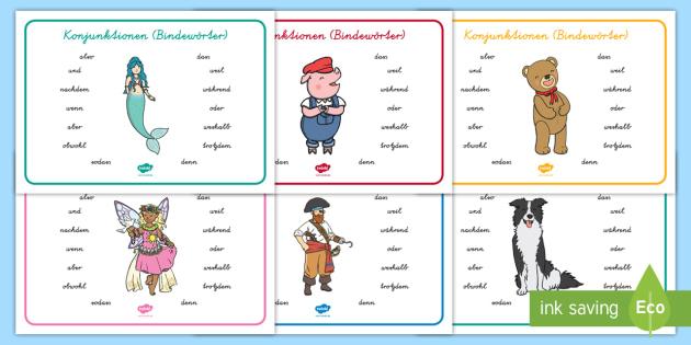 NEW * Konjunktionen (Bindewörter) Wortschatzsammlung: