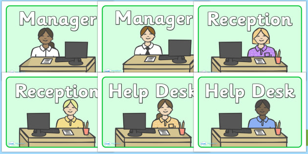 The Office Role Play Display Signs - the office, office, display, banner, workplace, help desk, sign, poster, role play, play, manager, phone operator, reception, paper, work