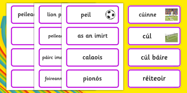 Rio 2016 Olympics Football Word Cards Gaeilge - Football, Olympics, Olympic Games, sports, Olympic, London, 2012, word card, flashcards, cards, activity, Olympic torch, events, flag, countries, medal, Olympic Rings, mascots, flame, compete