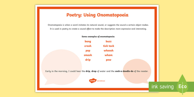 Poetry: Using Onomatopoeia A4 Display Poster - Literacy, Interpreting, analysing, evaluating, english, poetry, writing, poems, poetry, Onomatopoeia