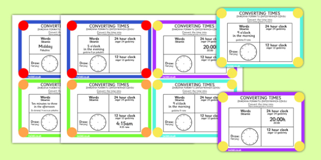 Converting Time Challenge Cards Polish Translation - polish, time, clocks, hours, numeracy