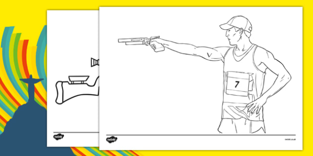 The Olympics Shooting Colouring Sheets - Shooting, Olympics, Olympic Games, sports, Olympic, London, 2012, colouring, fine motor skills, poster, worksheet, vines, A4, display, activity, Olympic torch, events, flag, countries, medal, Olympic Rings, ma