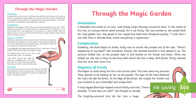 Through The Magic Garden Narrative Writing Sample Australia