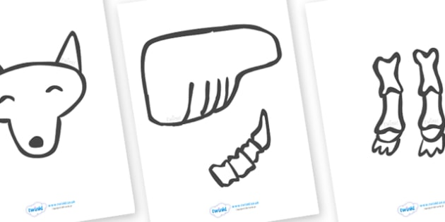 Make a Moving Dog Skeleton Cutting Activity (Large) to Support Teaching on Funny Bones - Funny Bones, Janet and Alan Ahlberg, story, story book, story book resources, story sequencing, story resources, skeleton, our body, all about me,