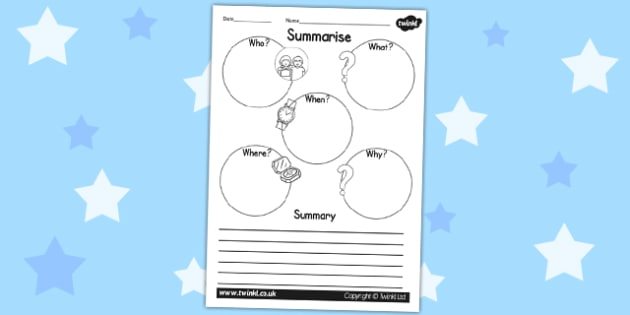 Summary Writing Frame - writing templates, summarise, literacy