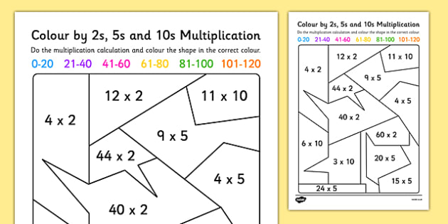 Mixed Colour by 2s, 5s and 10s Multiplication Activity Sheet - colour, colour by, 5, 2, 10, multiplication, activity, worksheet