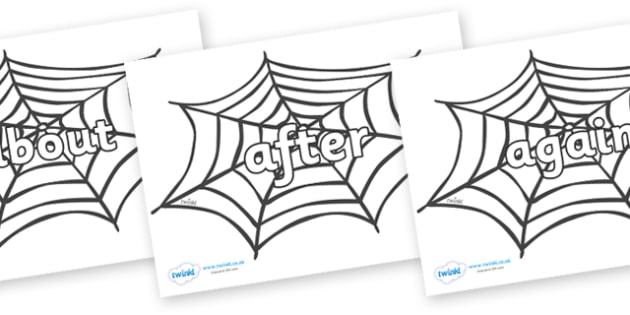 KS1 Keywords on Spiders Web - KS1, CLL, Communication language and literacy, Display, Key words, high frequency words, foundation stage literacy, DfES Letters and Sounds, Letters and Sounds, spelling