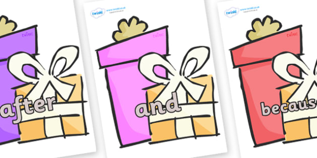 Connectives on Presents - Gifts - Connectives, VCOP, connective resources, connectives display words, connective displays
