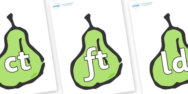 Final Letter Blends on Pears - Final Letters, final letter, letter blend, letter blends, consonant, consonants, digraph, trigraph, literacy, alphabet, letters, foundation stage literacy