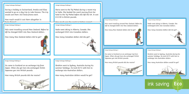 Foreign Exchange Challenge Cards - CfE Numeracy and Mathematics, money, currency, foreign exchange, word problems, problem solving, eur